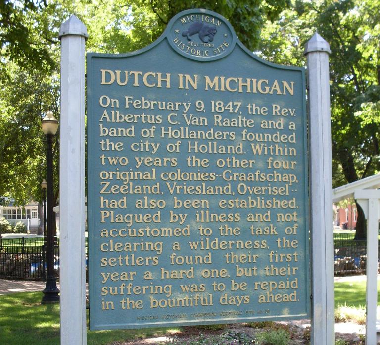 Dutch in Michigan Historical Marker